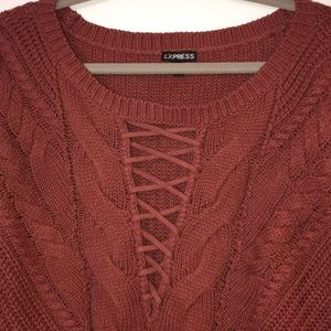 New express sweater with lace up front